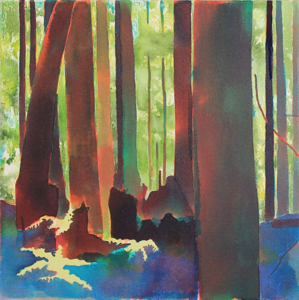 layering blue acrylic ink on canvas to paint a forest