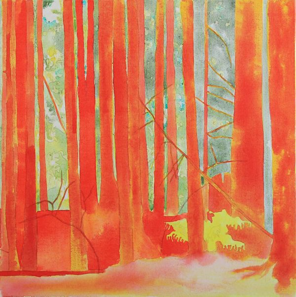 layering red fluid acrylic ink on top of the previous yellow layer