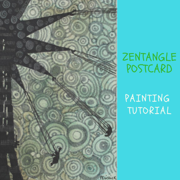 Zentangle postcard on ARTiful, painting demos by Sandrine Pelissier