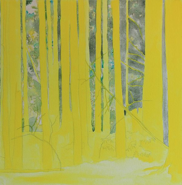 layering fluid acrylic inks on canvas : First yellow layer