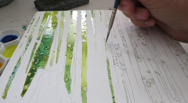 painting the foliage wet into wet with acrylic inks