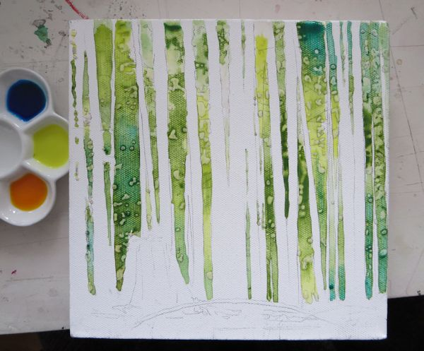 painting foliage with green and blue acrylic inks wet into wet