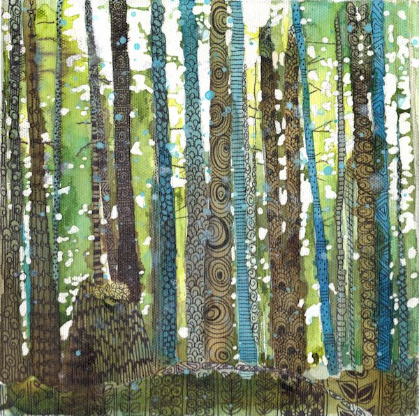 zentangle forest painting