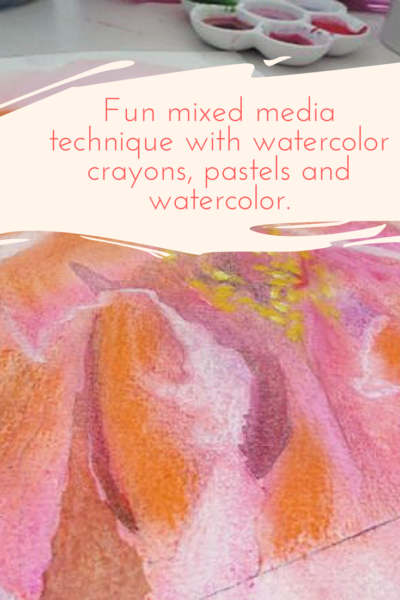 Fun mixed media technique with watercolor crayons, pastels and watercolor by Sandrine Pelissier on ARTiful, painting demos