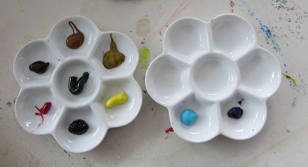 porcelain flower trays are great to use with watercolor