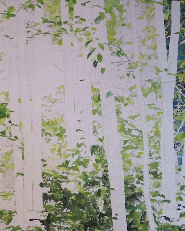 start by painting the leaves