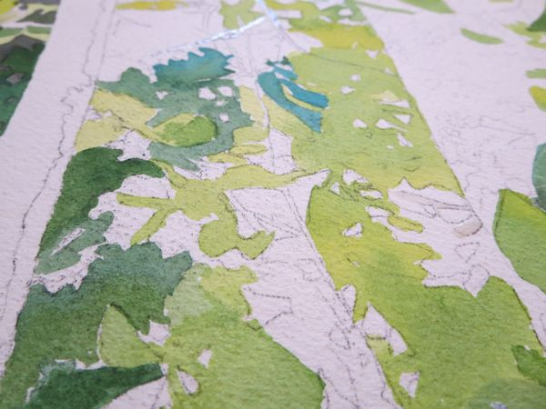 painting leaves with watercolor wet into wet techniques and wet on dry