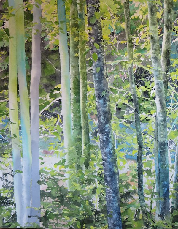 painting the trees texture with a watercolor scrumbling technique