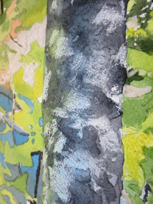 adding white pencils on the trunks