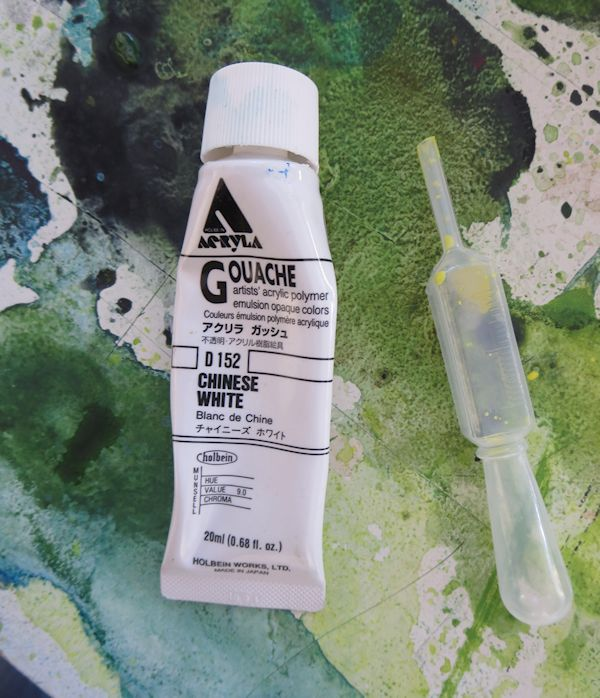 china white gouache on top of wet watercolor painting