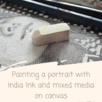 How to paint a patterned portrait with India Ink and mixed media