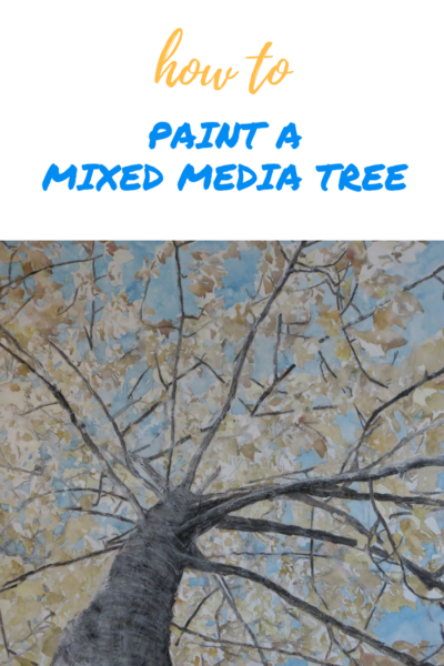 How to paint a mixed media tree on ARTiful, painting demos by Sandrine Pelissier