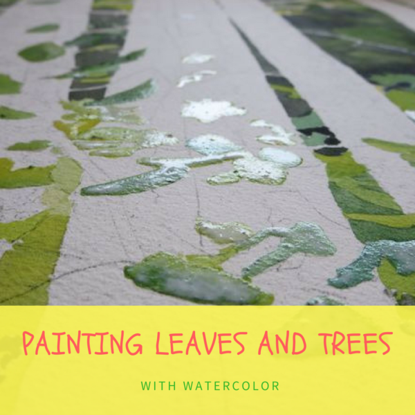 Painting trees and leaves in watercolor on ARTiful, painting demos by Sandrine Pelissier