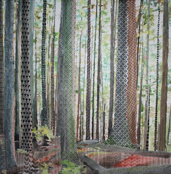 patterned forest painting with zentangles