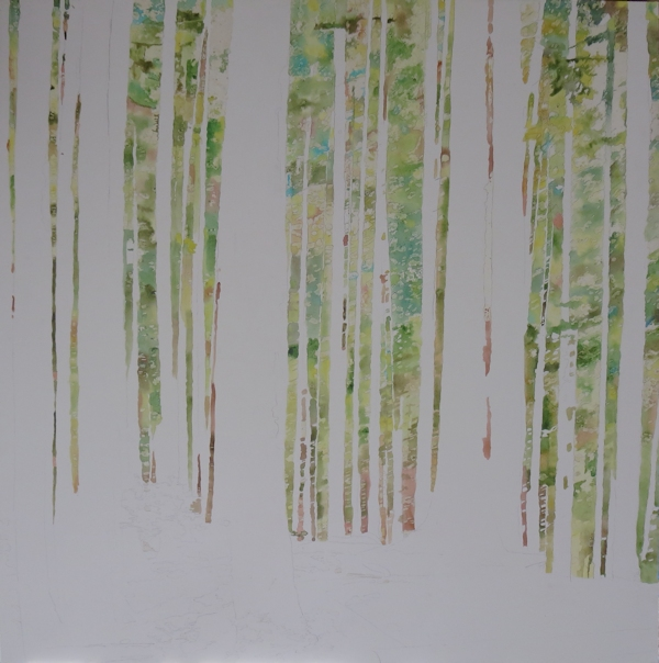 painting foliage wet in wet with watercolors