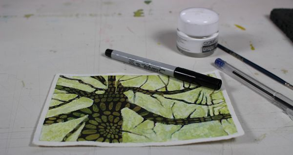 crochet looking pattern on watercolor tree postcard