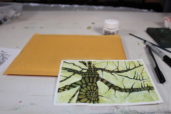 watercolor and acrylic patterned tree postcard