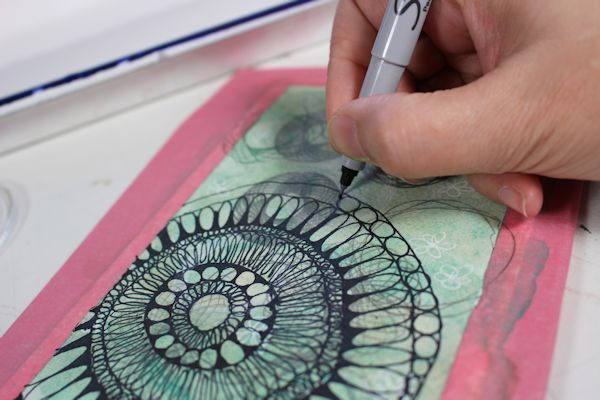drawing a mandala design with sharpie