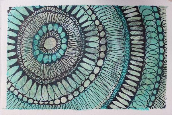 mandala like patterns on postcard fun painting activity