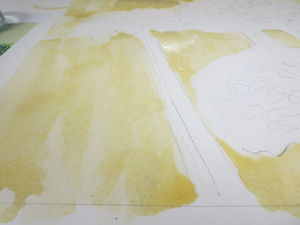 watercolor visual textures when painting with alcohol