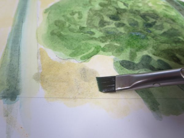layering watercolor washes on the background