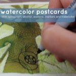 Fun painting activity: Watercolor postcards with Spirograph visual texture