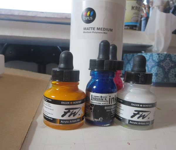 select a few acrylic ink colors