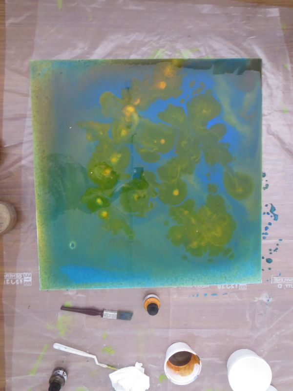 the acrylic will mix wet into wet