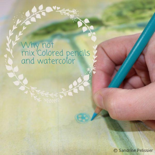 add colored pencils to your watercolors