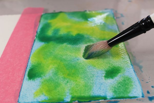 mixing watercolors wet into wet
