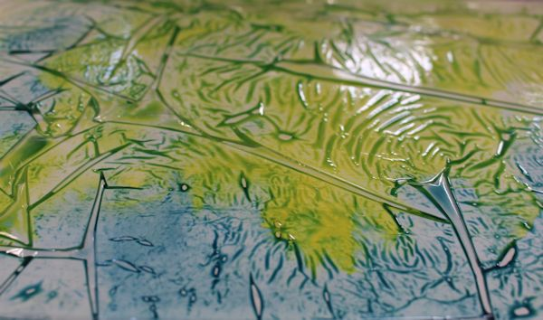 plastic wrap textures on yupo paper
