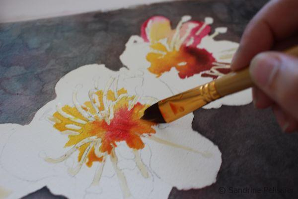 painting flowers wet into wet