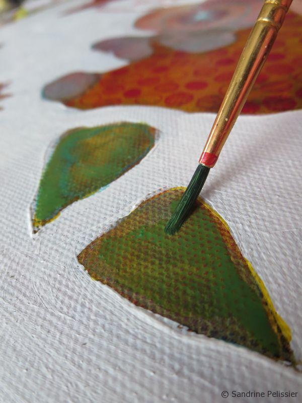 Painting leaves with watercolour