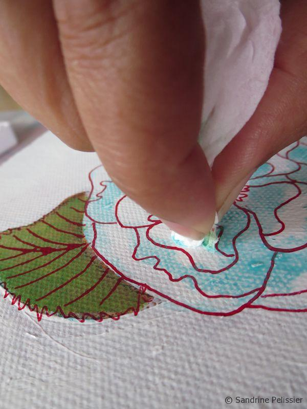 And create some highlights by lifting off the paint with a tissue paper