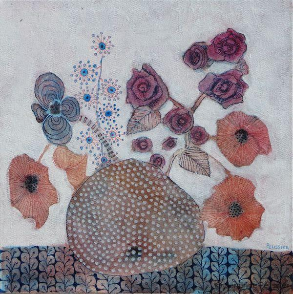 Poppies and Roses, watercolor and mixed media on canvas