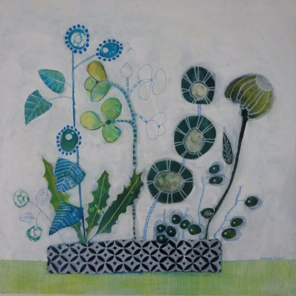 painting flowers from imagination with mixed media on canvas