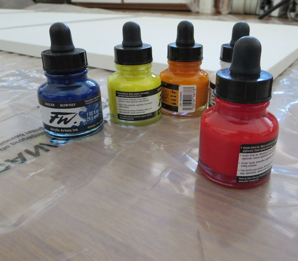 I am going to use a few colors of fluid acrylics inks