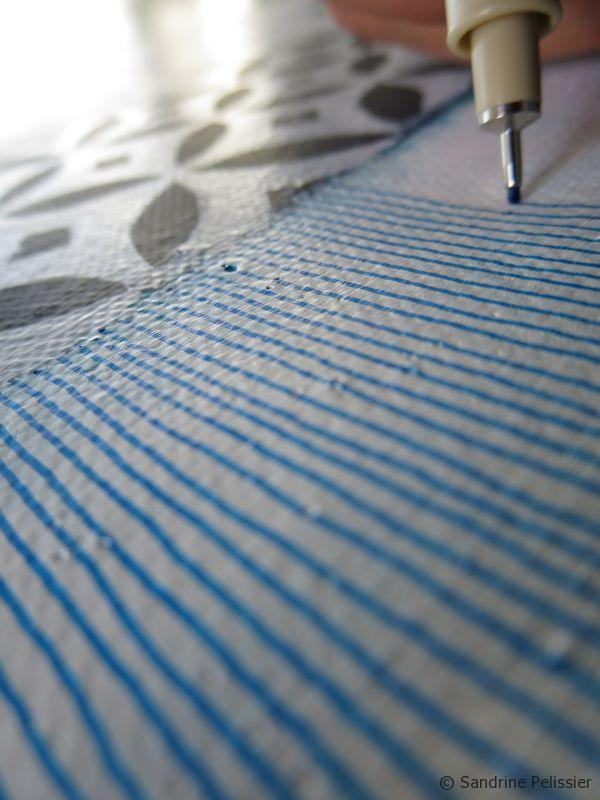 drawing stripes with Sakura Micron pens on canvas