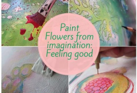 How to paint flowers from imagination in mixed media