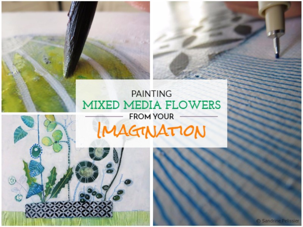 Painting mixed media Flowers from your imagination: Greenery on ARTiful, painting demos by Sandrine Pelissier
