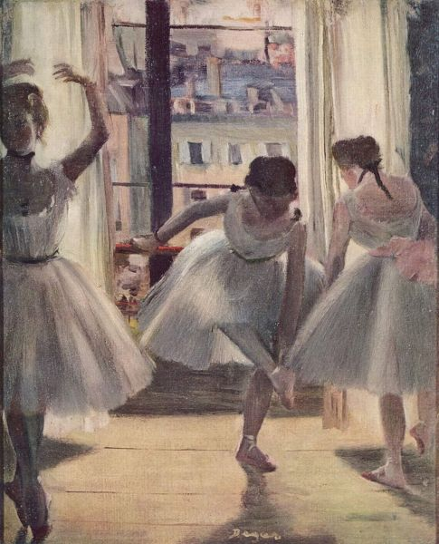 Edgar Degas, 1873, oil on canvas, Drei Tänzerinnen in einem Übungssaal via Wikimedia commons