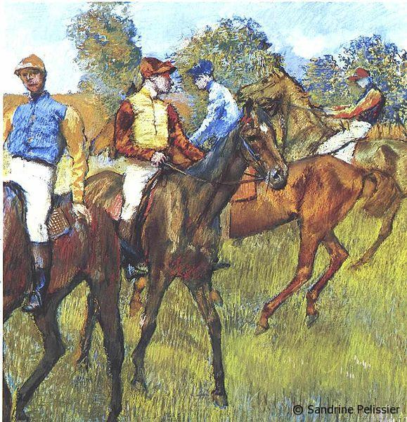 Race horses by Edgar Degas via Wikimedia commons