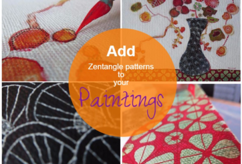 How to add zentangle patterns to your paintings: In Kyoto on ARTiful, painting demos by Sandrine Pelissier