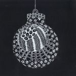 Christmas ball ornament white on black post card