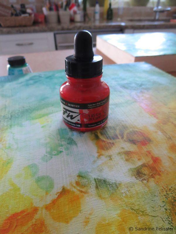 adding red acrylic ink