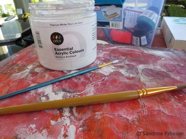 painting the negative space with white acrylic