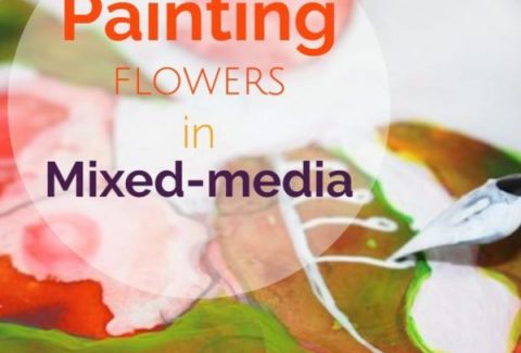 Painting flowers in mixed media