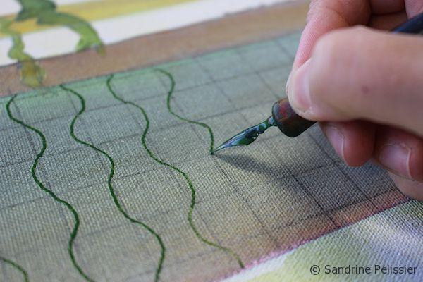 Drawing patterns with a dipping pen and ink on top of a graphite grid