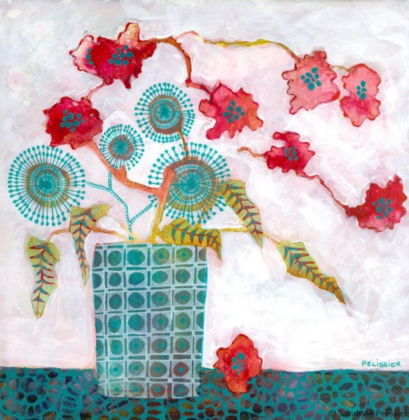 consistent style in mixed media flower painting from imagination