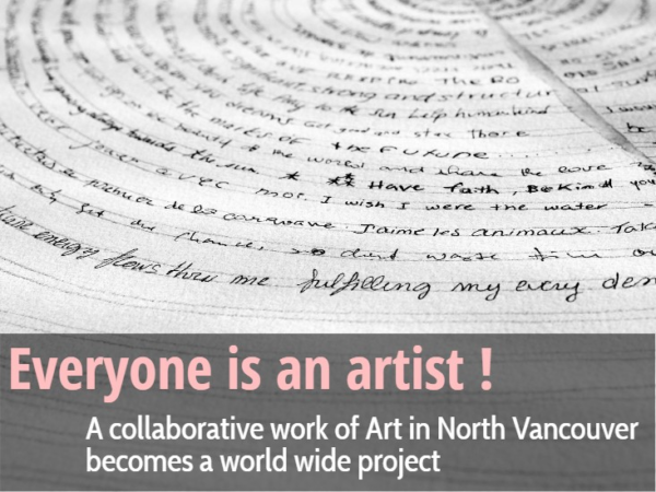 Everyone is an Artist: A collaborative work of Art in North Vancouver becomes a world wide project onartiful painting demos by Sandrine Pelissier